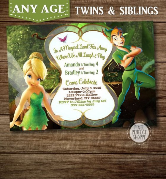 Tinkerbell And Peter Pan Invitation By Pixelperfectshoppe On Etsy
