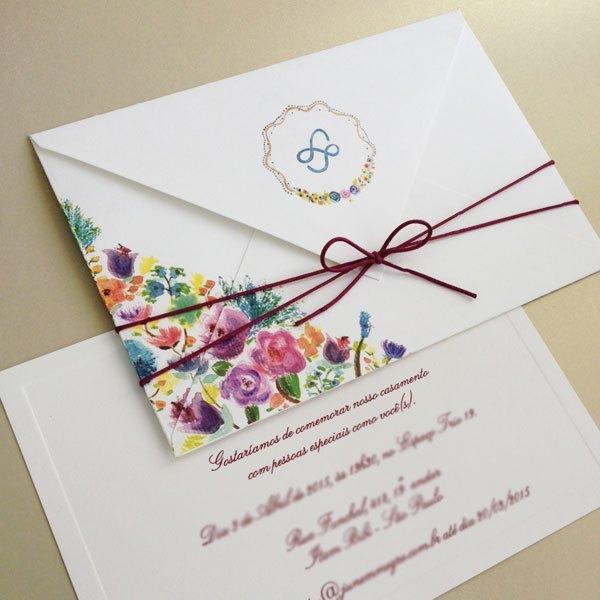 Arte Em Papel  Convite De Casamento Em Aquarela