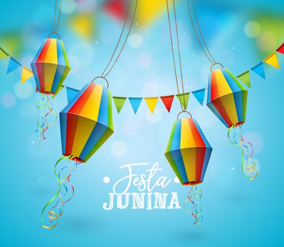 Ilustração De Festa Junina Com Bandeiras Do Partido E Lanterna De