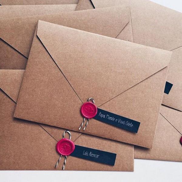 Envelope Kraft; Lacre De Cera; Convite De Casamento Rústico