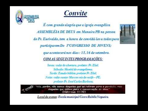 Convite Da Igreja Evangélica Assembleia De Deus Em Manaíra – Pb