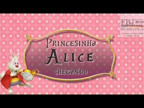 Convite Animado Chá De Bebê Alice No País Das Maravilhas Amostra 1