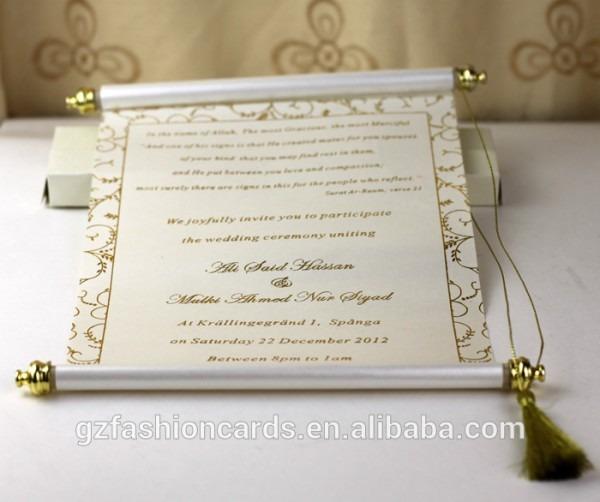 2014 Novo Design Elegante E Luxuoso Rolar Convites De Casamento De