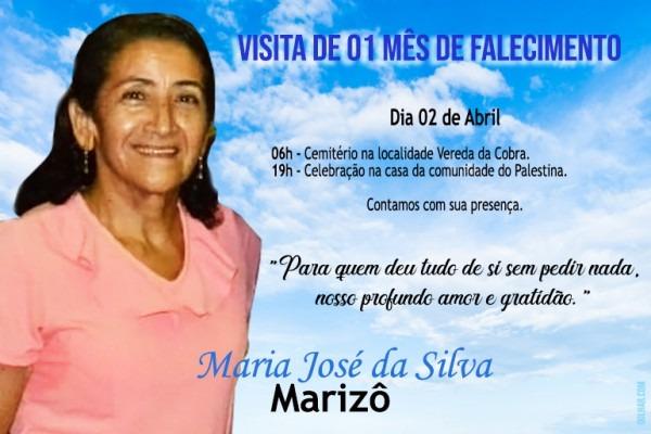 Convite Missa De 01 Mês De Falecimento De Maria José Da Silva – O
