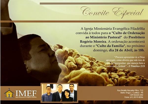 """Convite – """"culto De Ordenação"""" Ao Ministério Pastoral Do"""