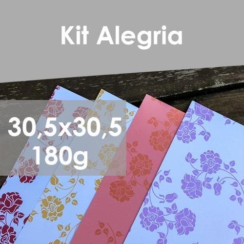 Papel P  Convite Estampas Florais 180g, 30x30cm Kit Alegria