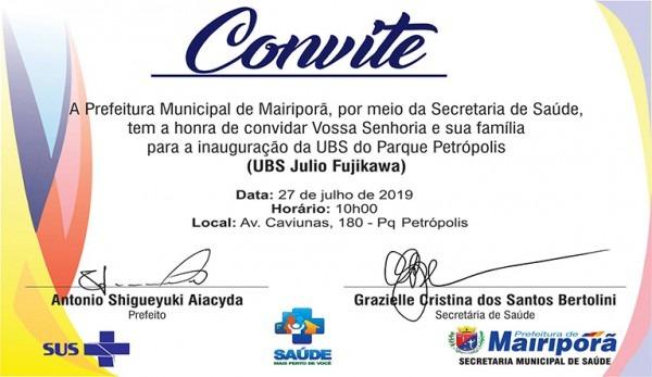Convite Para InauguraÇÃo – Prefeitura De Mairiporã