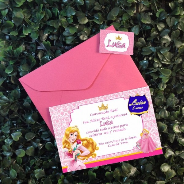 Convite Da Bela Adormecida + Envelope E Lacre Por R$1,75