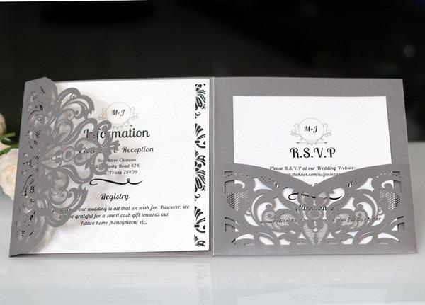 Exemplos De Convite De Casamento Três Dobrado Prata Laser Cut