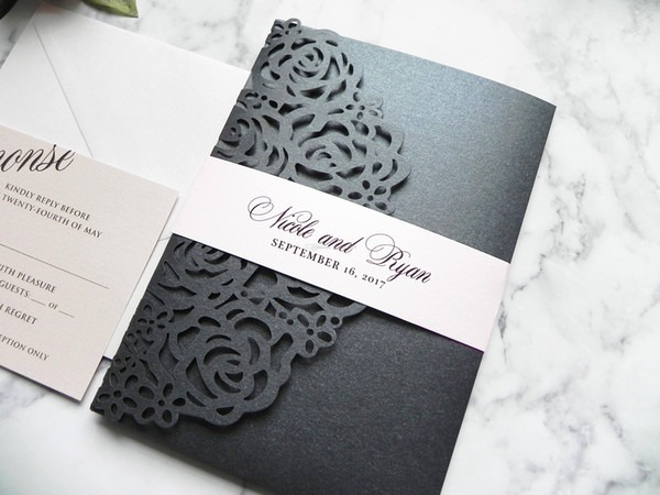 Valor De Convite De Casamento Luxo Laser Cut Suite De Convite De
