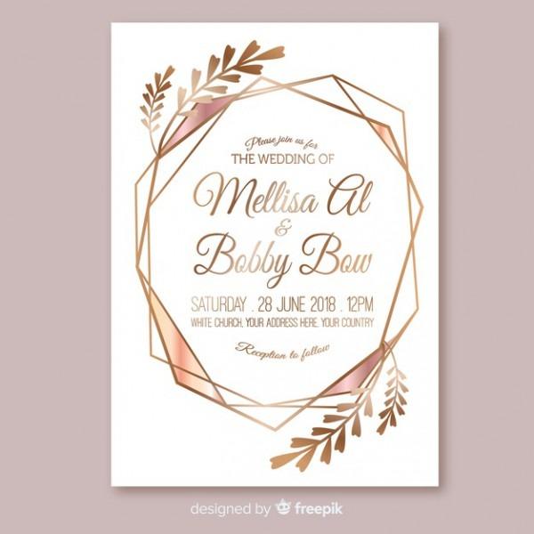 Rose Gold Geometric Wedding Invitation Template Vector